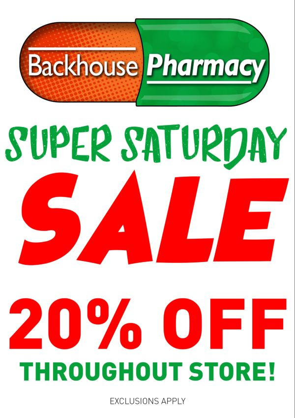 Backhouse Pharmacy Dundalk Super Saturday Sale Poster
