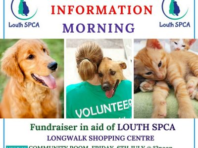 Longwalk Shopping Centre & Louth SPCA hosting Coffee & Information Morning